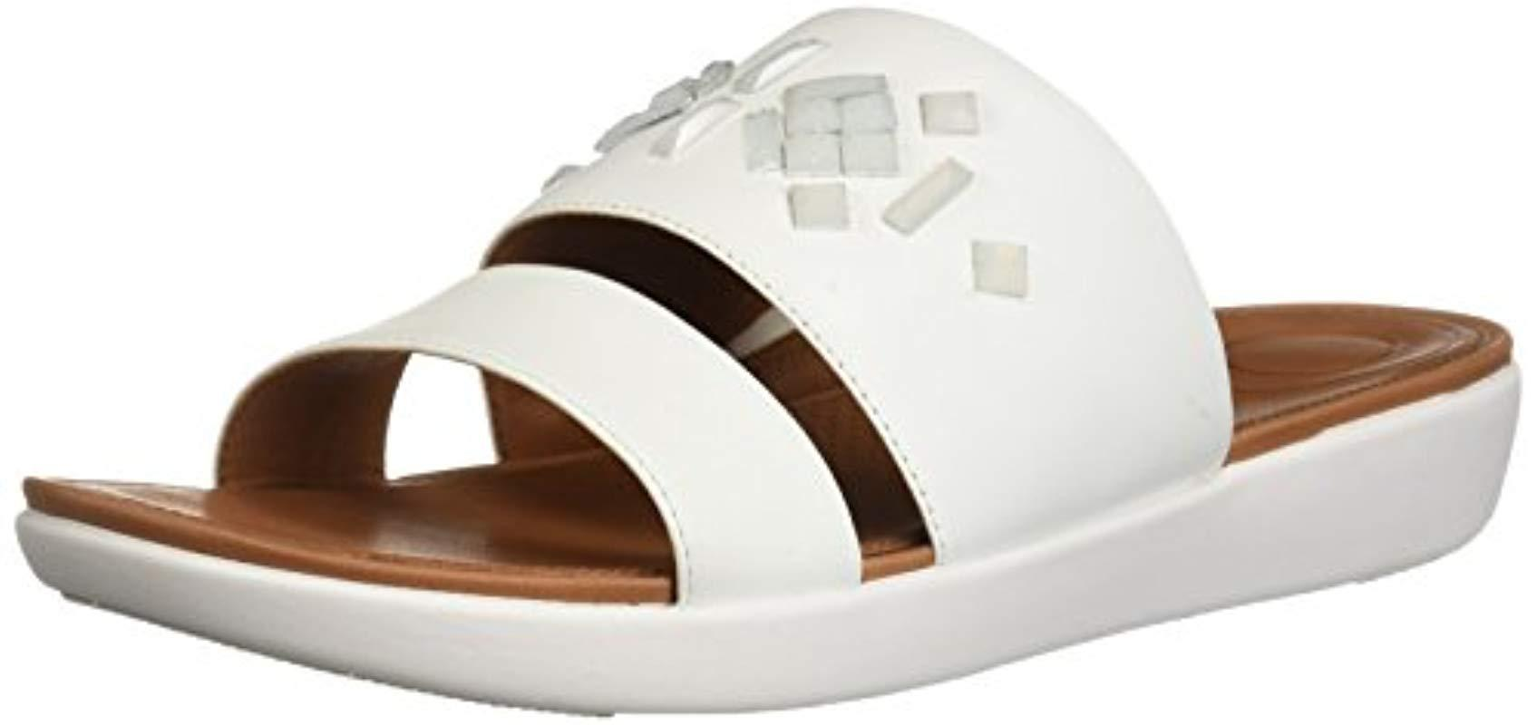 3183a0d0c2f Lyst - Fitflop Delta Leather Slide Sandals-crystal in White - Save 1%