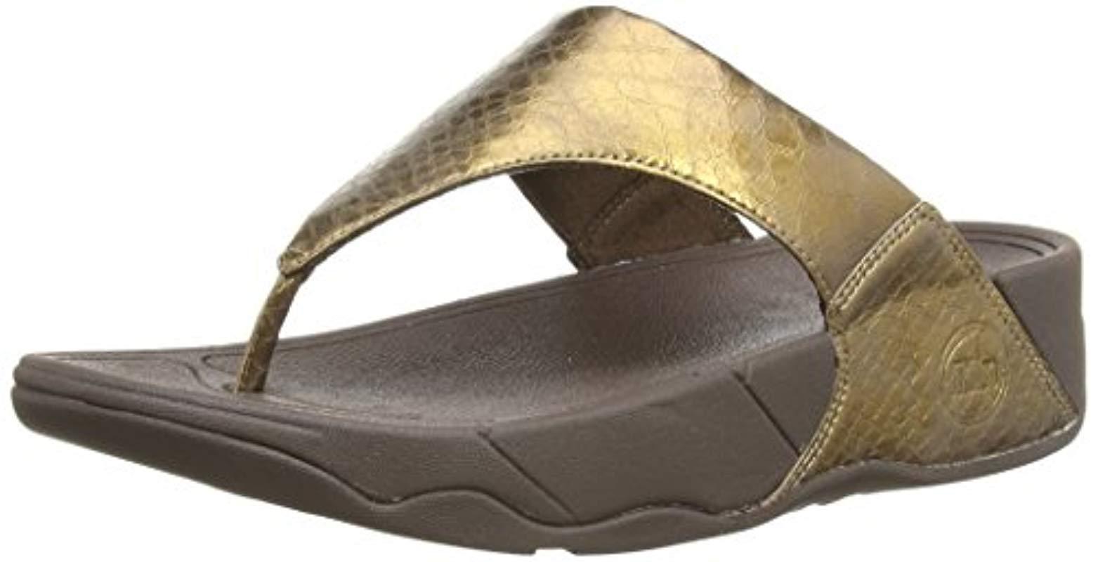 d085646c067953 Lyst - Fitflop Lulu Metallic Snake Flip-flop in Metallic