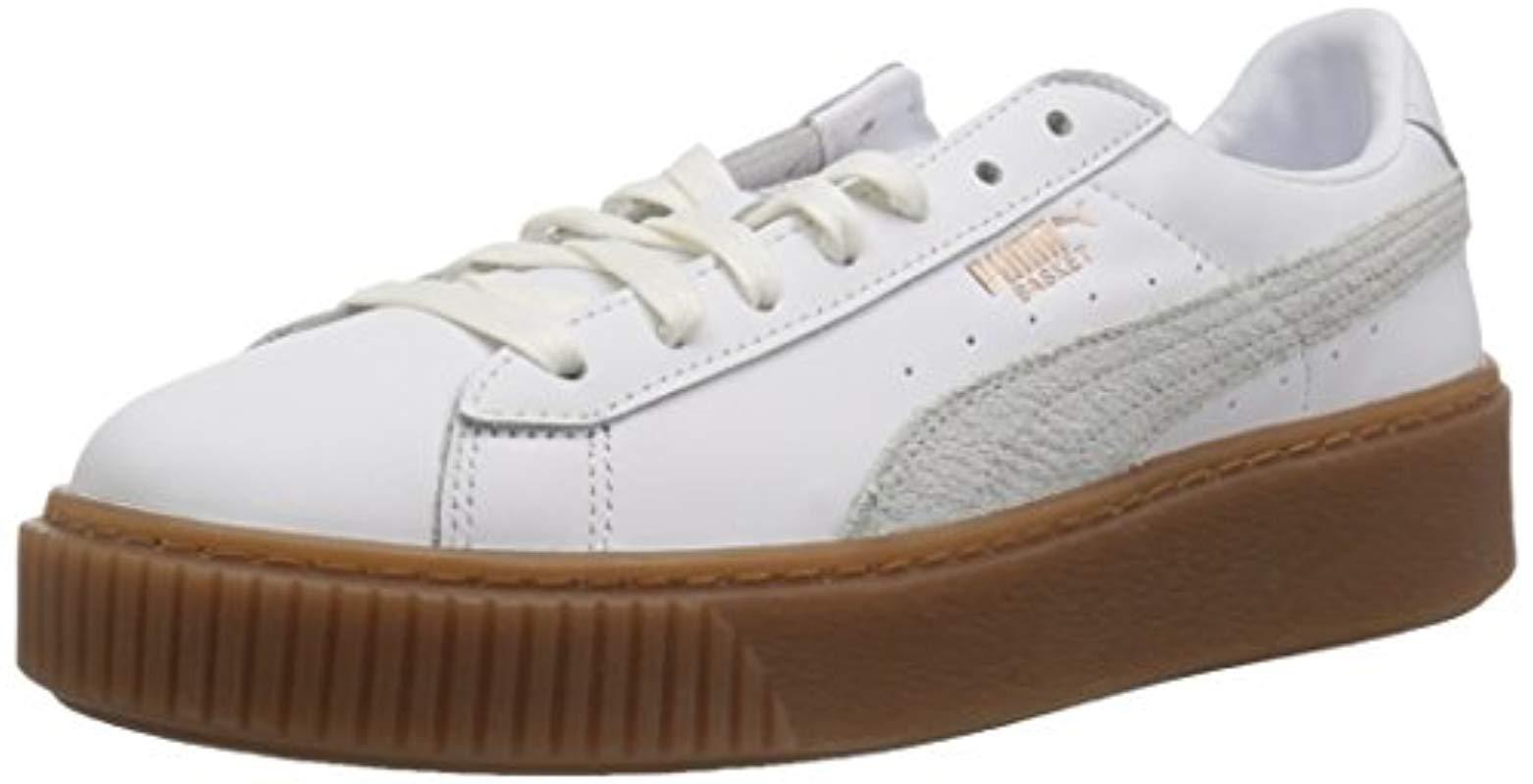 Women's White Basket Platform Euphoria Gum Sneaker