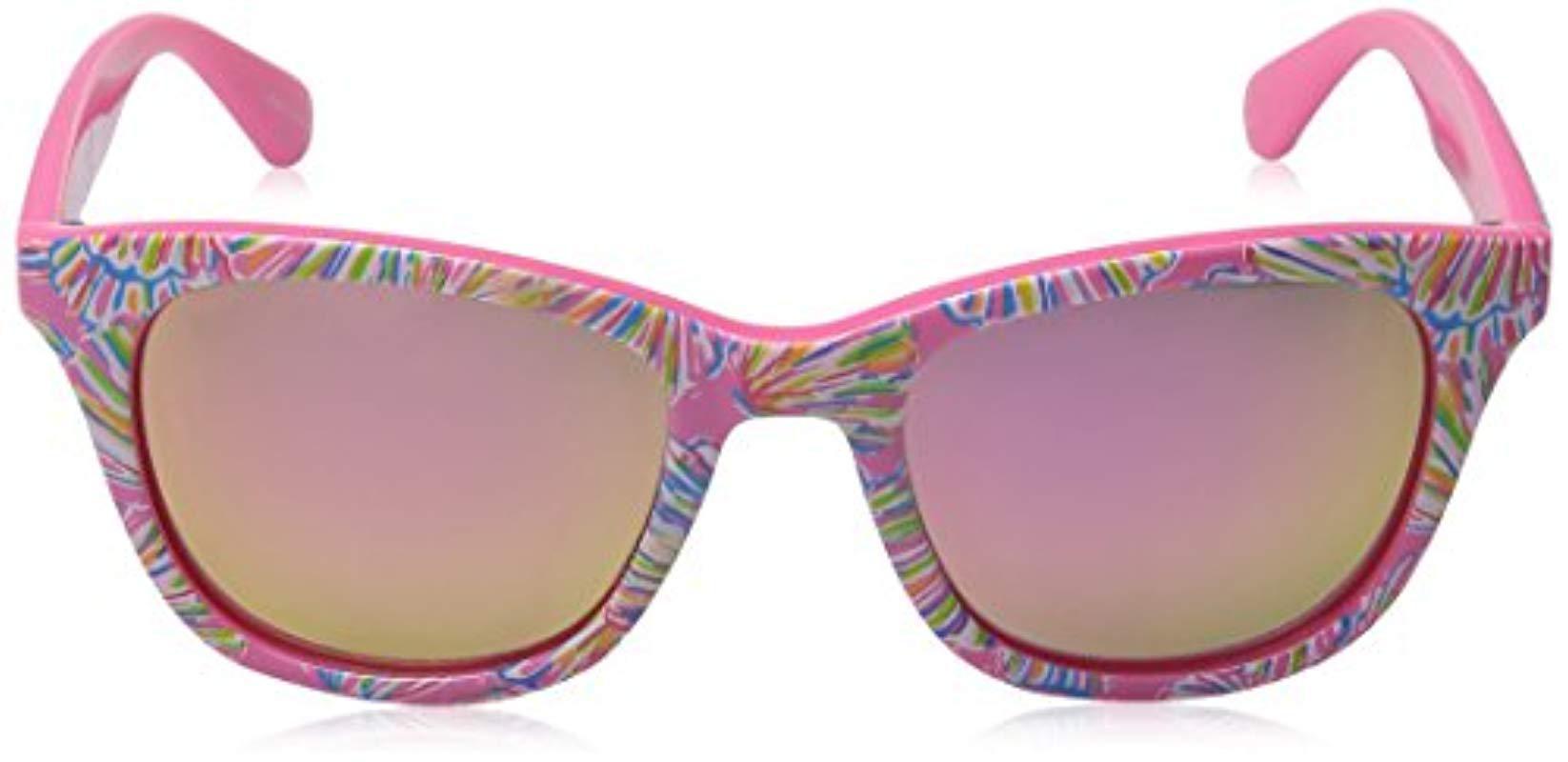 7d2381722a Lilly Pulitzer - Multicolor Maddie Mddelc52 Polarized Wayfarer Sunglasses -  Lyst. View fullscreen