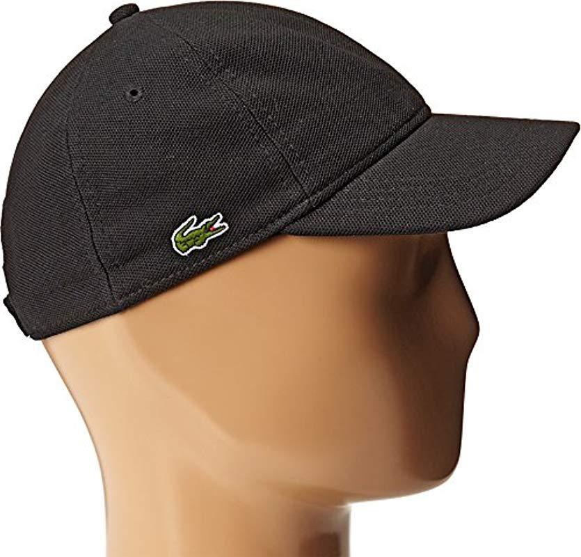 c1f2ff39a12 Lyst - Lacoste Pique Cotton Cap in Black for Men - Save 10.0%