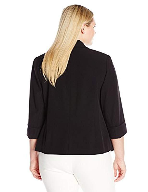 753b9519969 Lyst - Kasper Plus Size Stretch Crepe Flyaway Jacket in Black - Save 1%