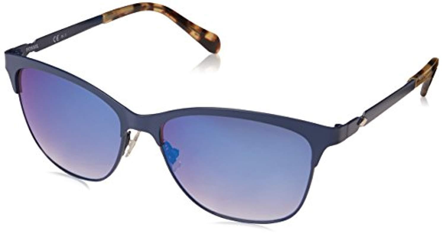 0133754565 Lyst - Fossil Fos 2078 s Square Sunglasses Mtt Blue 55 Mm in Blue