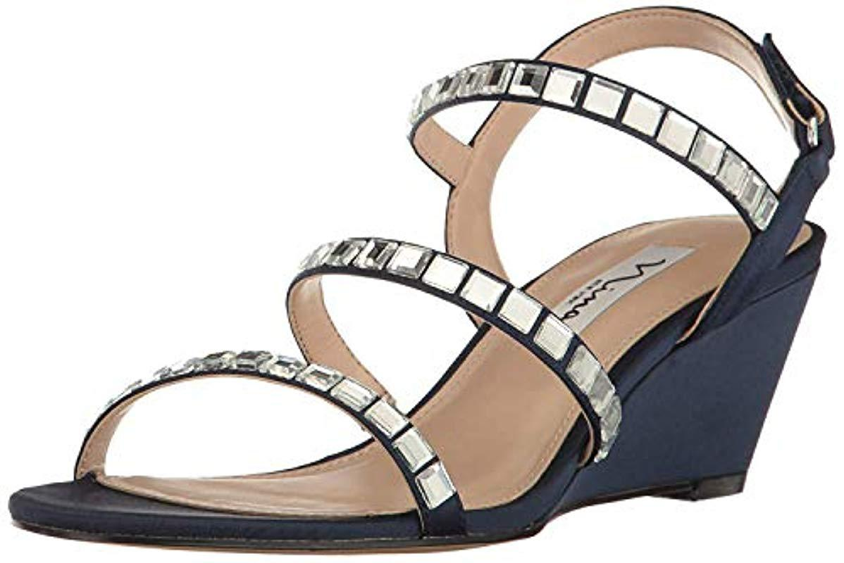 7bfa5e3864 Lyst - Nina Naleigh Wedge Sandal in Blue - Save 27%