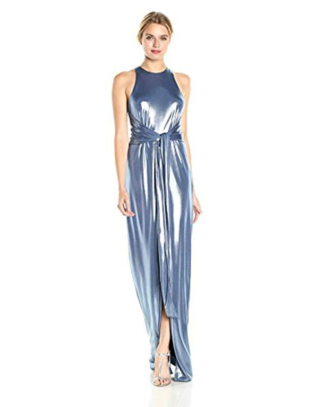 7351ac05e9e Halston. Women s Blue Sleeveless High Neck Metallic Jersey Gown With Sash