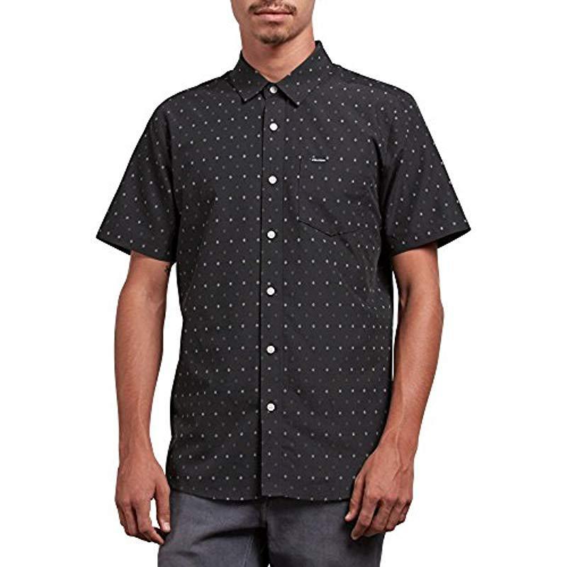 5fc33991 Volcom. Men's Black Frequency Dot Modern Fit Woven Button Up Short Sleeve  Shirt