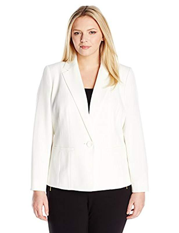 45e66114f1a Lyst - Kasper Plus-size Stretch Crepe Jacket in White - Save 49.375%
