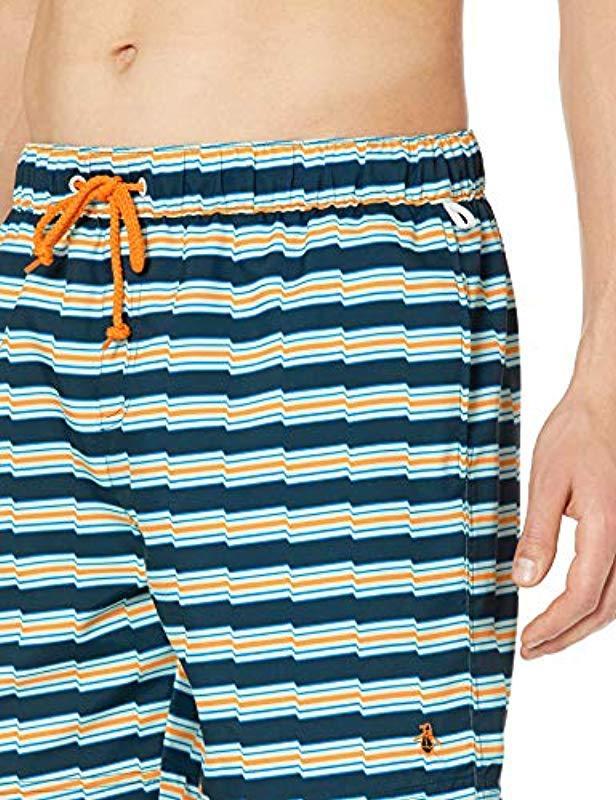 9f51d98876 Lyst - Original Penguin Stripe Elastic Waist Volley Swim Short in Blue for  Men