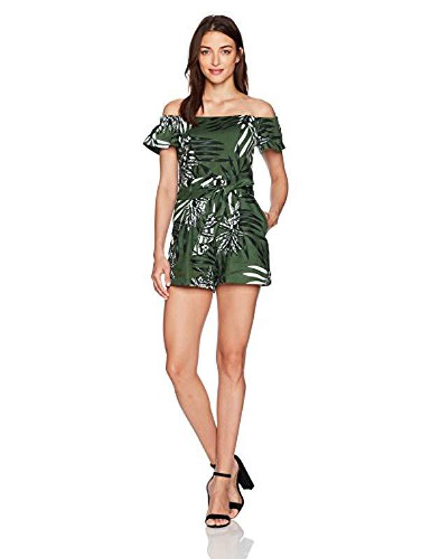 325fbb5f4090 Lyst - Guess Short Sleeve Fulton Paperbag Romper in Green - Save 10%