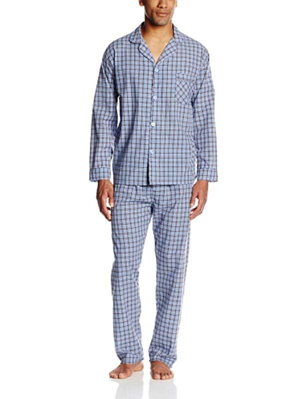 93fee780df Lyst - Hanes Woven Plain-weave Pajama Set in Blue for Men