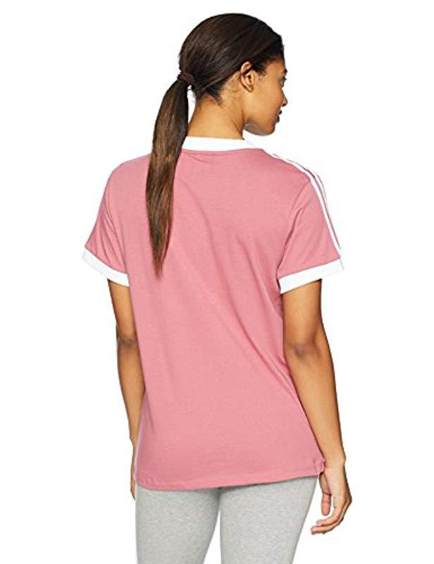 free shipping 29c27 899f2 Lyst - adidas Originals 3 Stripes T-shirt in Pink - Save 24%