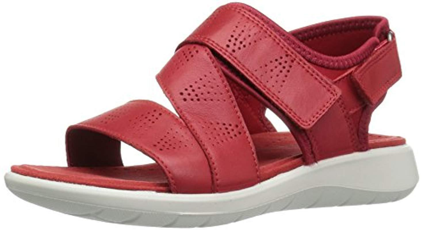 76ad5a7b110 Lyst - Ecco Soft 5 Cross Strap Sandal in Red - Save 29%