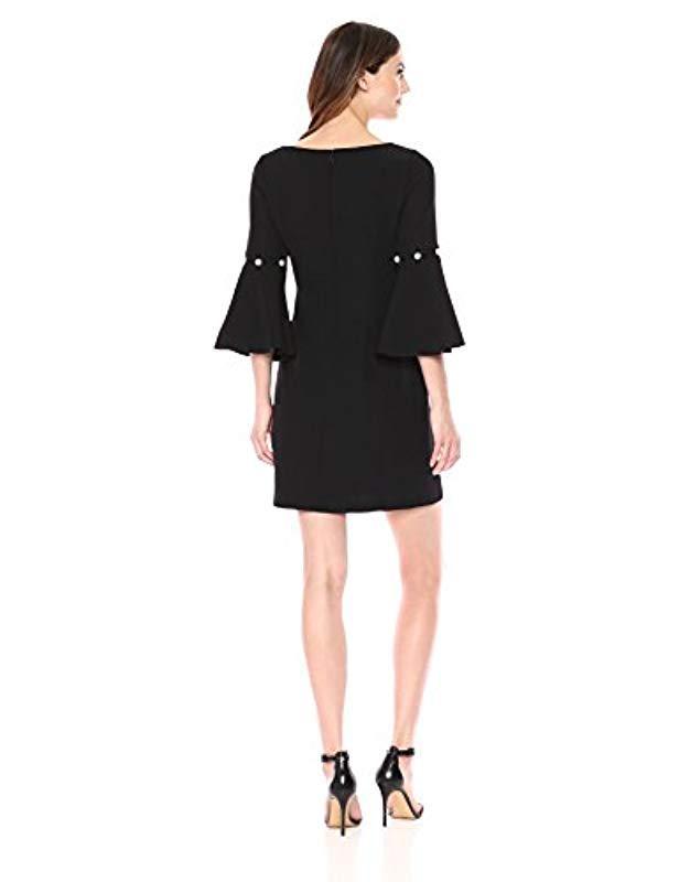 c10693888a9 Lyst - Ivanka Trump Textured Knit Bell Long Sleeve Pearl Detail Shift Dress  in Black