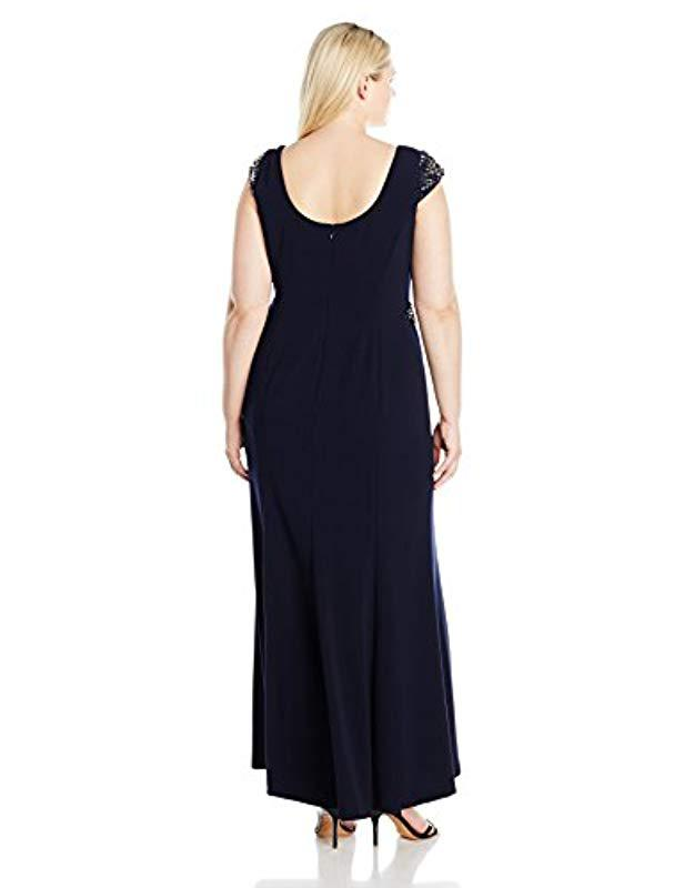 9f3ed4b7acdae Lyst - Adrianna Papell Plus Size Cap Sleeve Knit Crepe Mermaid Gown in Blue