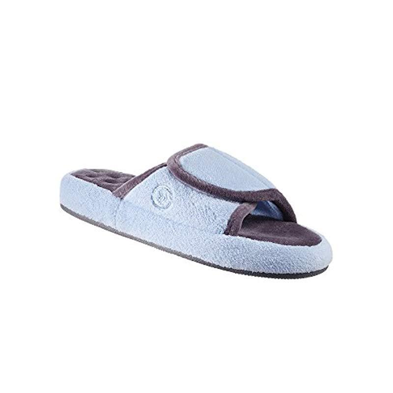 e02ccb21ead8 Isotoner - Blue Terry Spa Slip On Slide Slipper With Memory Foam For Indoor  outdoor. View fullscreen
