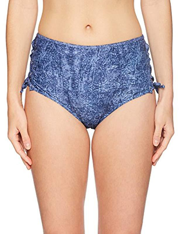62f47d6f4b294 Lyst - Guess Blue Denim High Waist Culotte Bikini Bottom in Blue