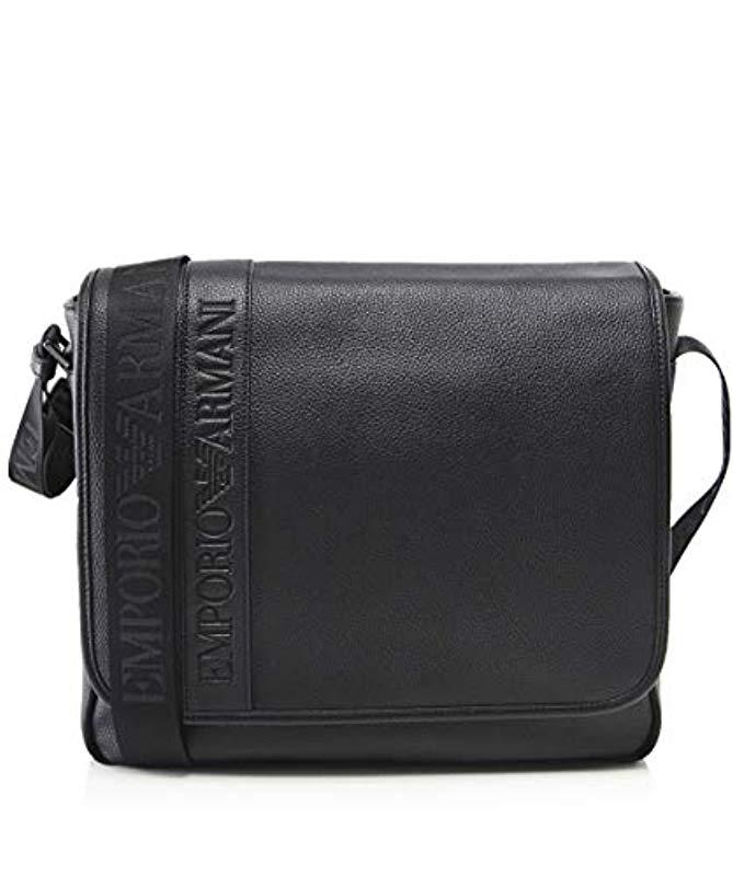 15566c04c08d Lyst - Emporio Armani Logo Flap Messenger Bag in Black for Men ...