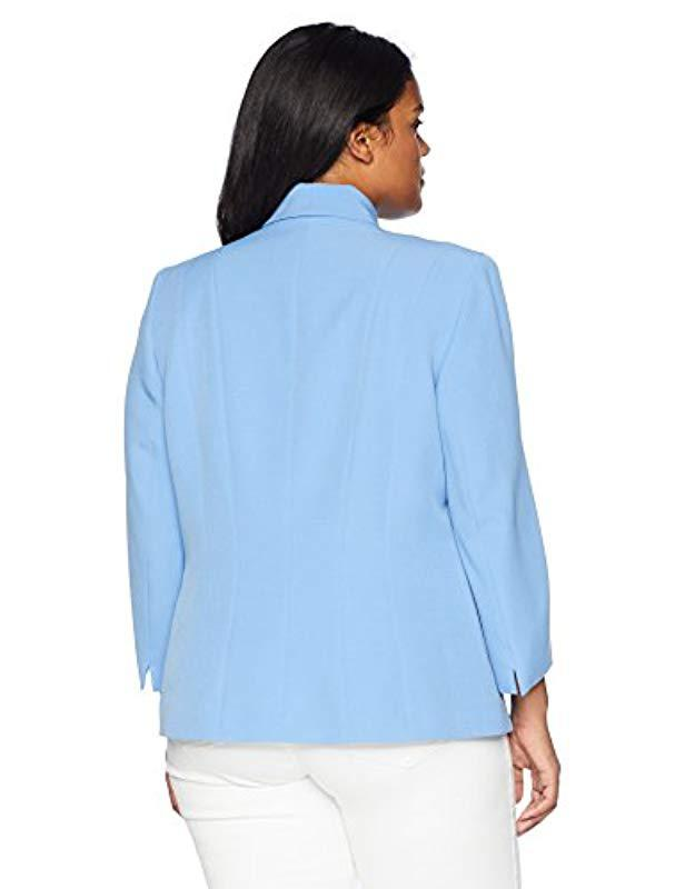 8a84db060ec Lyst - Kasper Size Plus Stretch Crepe One Button Jacket With Notch Collar  in Blue