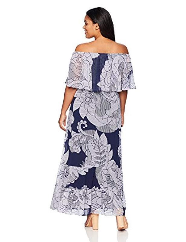 80f53f82cfdd Donna Morgan Plus Size Off The Shoulder Maxi Dress in Blue - Save 46% - Lyst