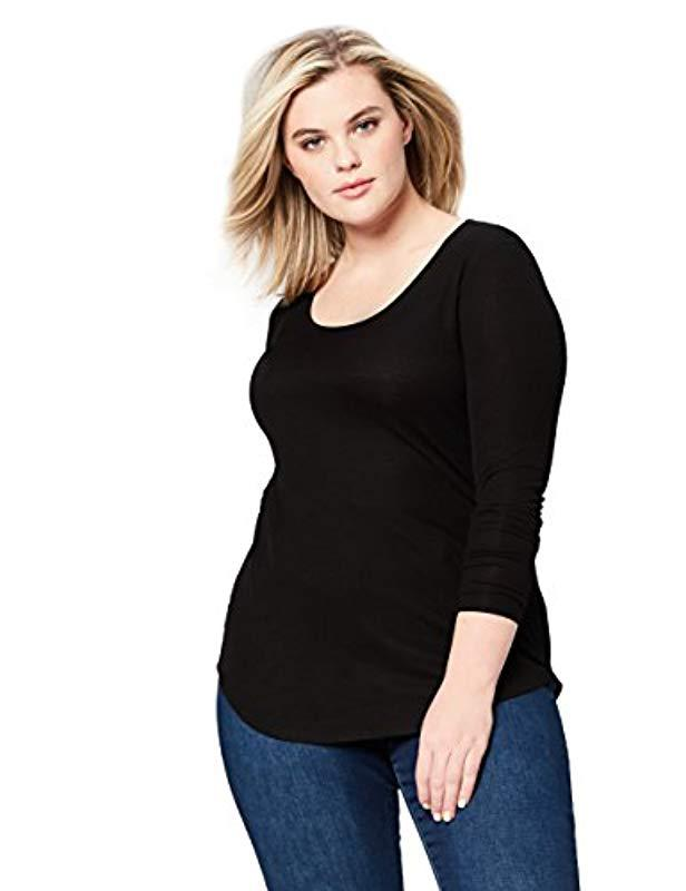 190a9ee373cd1f Daily Ritual. Women's Black Plus Size Ribbed Long-sleeve Scoop Neck Shirt