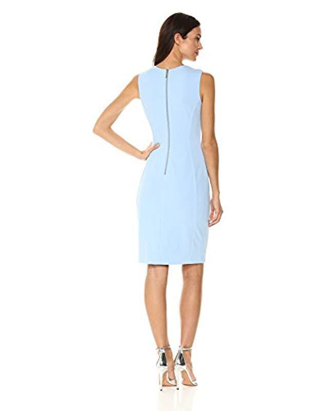 75f083a4 Lyst - Calvin Klein Scuba Crepe Sleeveless Princess Seam Sheath Dress in  Blue - Save 45%