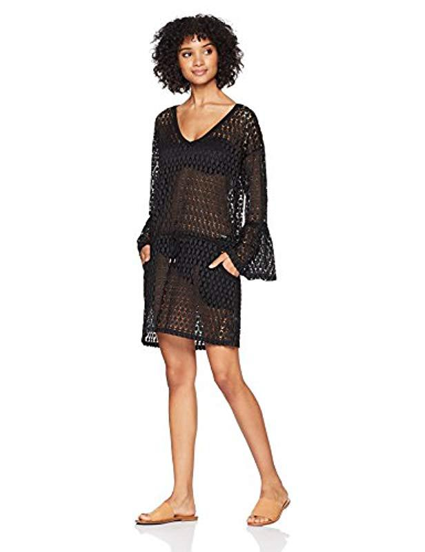 5484dc4956343 Calvin Klein. Women s Black Crochet Swimsuit Cover Up Tunic With Bell Sleeve