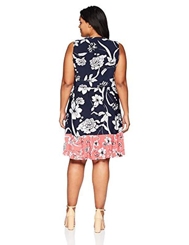 0313fcf7cb98 Lyst - Eliza J Plus Size Printed Surplus Dress With Ruffle Hem in Blue