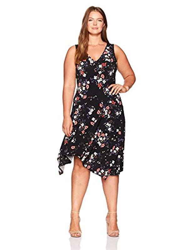 6821cf18784 Lyst - Rachel Rachel Roy Plus Size V-neck Daisy Print Dress in Black ...