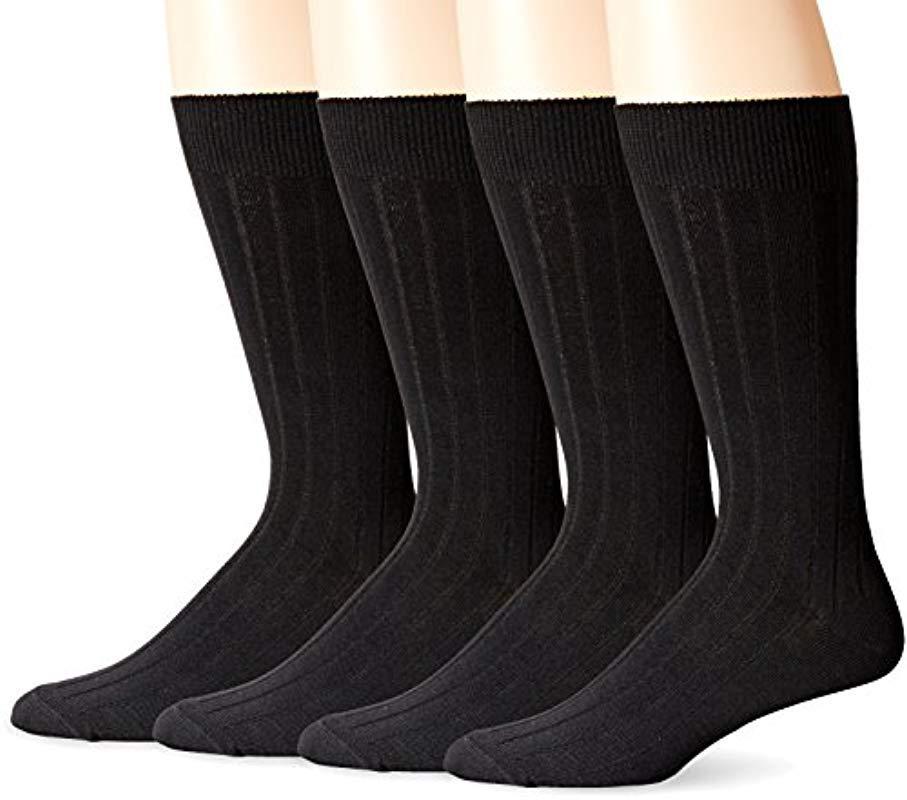 88c8e69ee Lyst - Dockers 4 Pack Dress Wide Rib Crew Socks in Black for Men ...