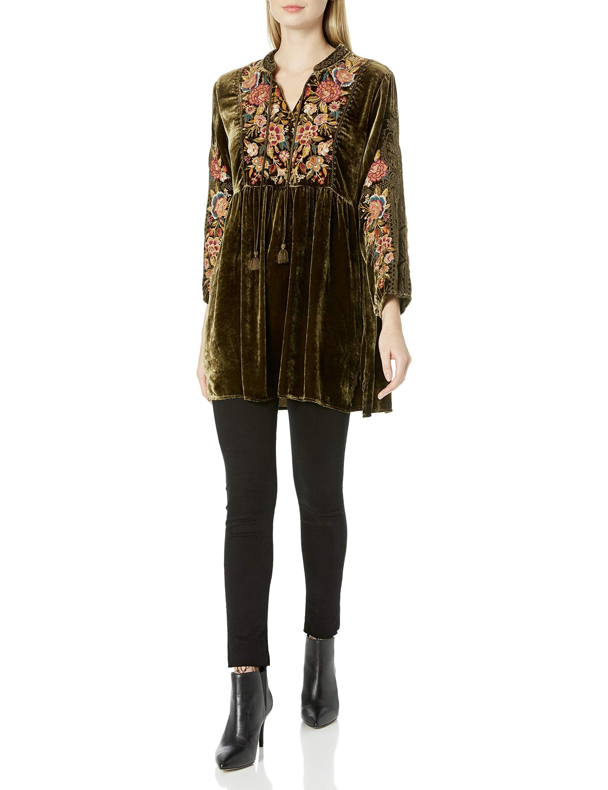 Johnny Was Long Sleeve Velvet Tunic With Floral Embroidery ...