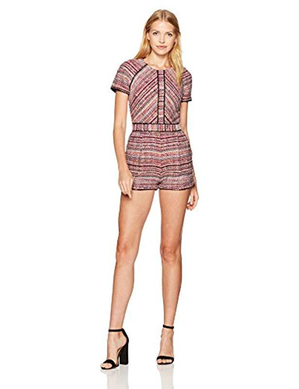 1e0aea4dfc8e Lyst - Adelyn Rae Jamie Woven Jacquard Romper in Red