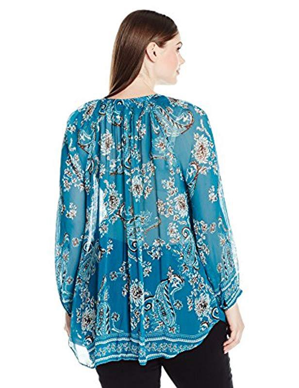 Lyst Lucky Brand Plus Size Turquoise Blouse In Blue Save