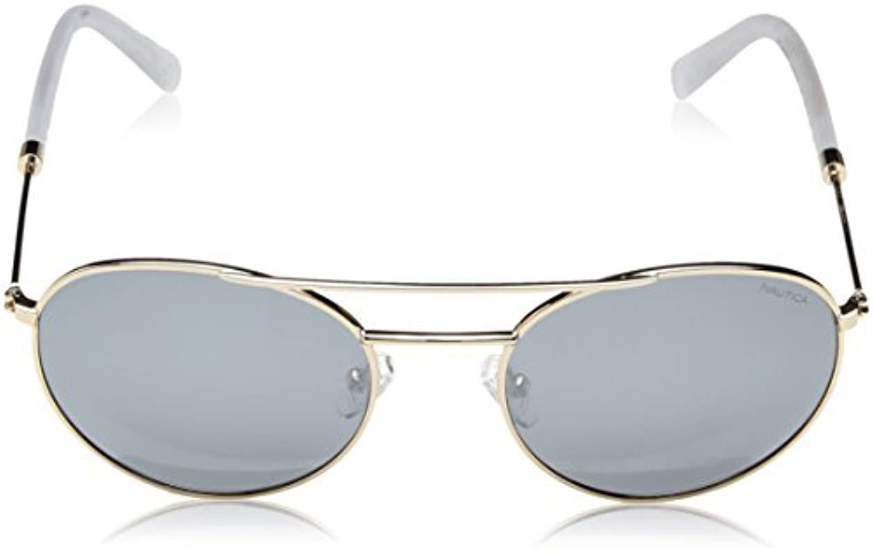 5523e68d4a Nautica - Metallic N4633sp Polarized Round Sunglasses Gold 52 Mm for Men -  Lyst. View fullscreen