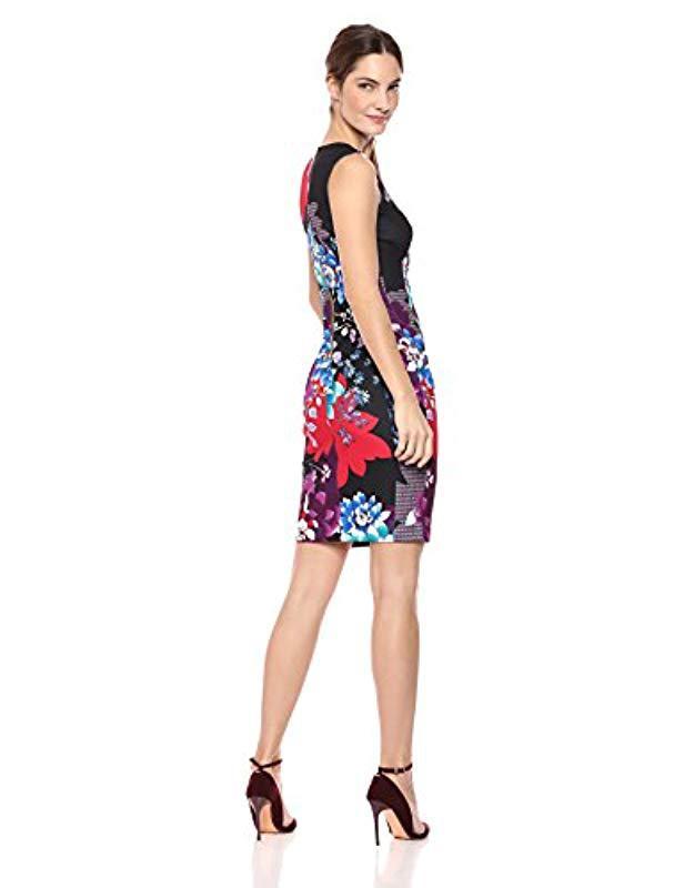 205531cb Lyst - Calvin Klein Scuba Crepe Sleeveless Princess Seam Sheath Dress in  Black