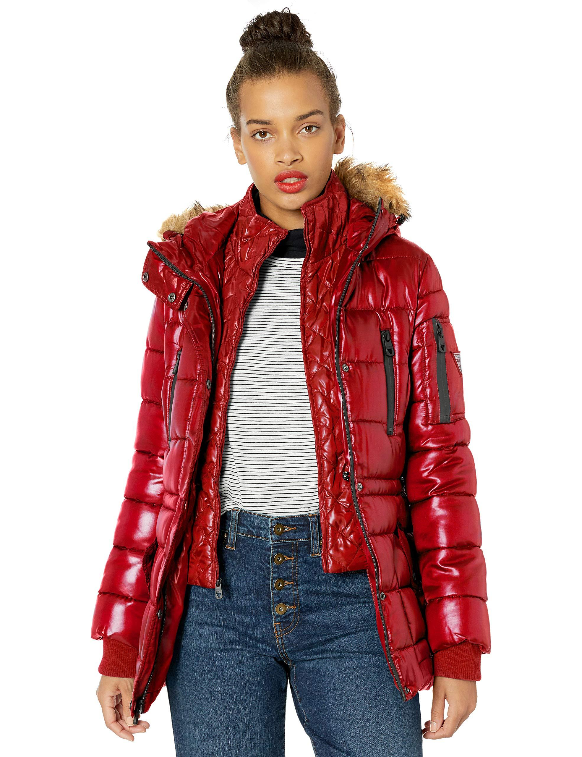 Guess Hooded Quilted Puffer Jacket With Removable Faux Fur ...