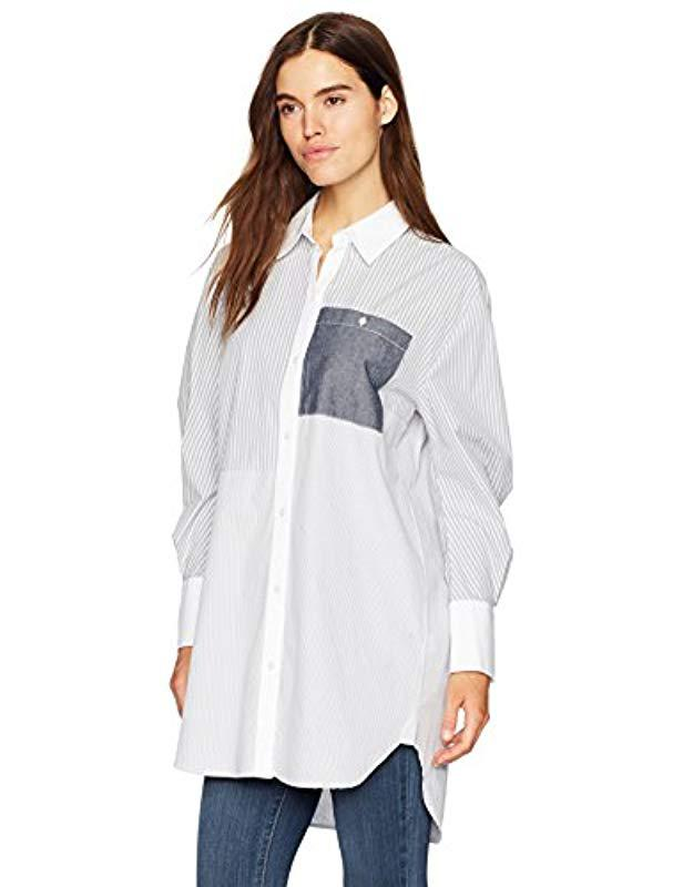 3e1e97263c3f4b Lyst - Kenneth Cole Oversized Striped Tunic Shirt in Blue - Save 70%