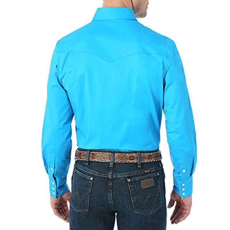 ce3dbf16 Wrangler - Blue Premium Performance Advanced Comfort Workshirt for Men -  Lyst. View fullscreen
