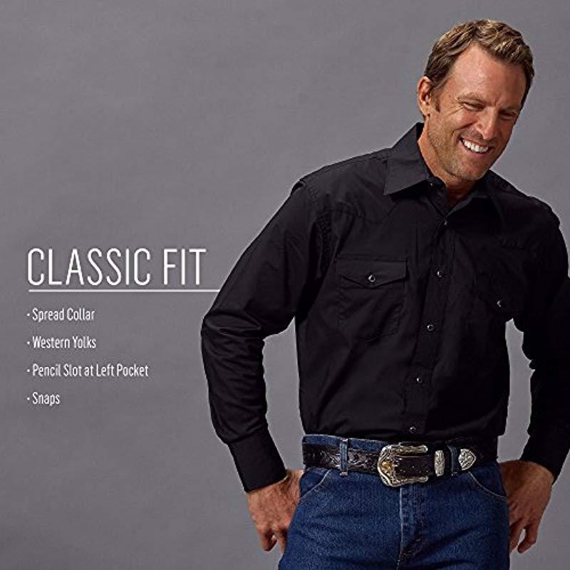 Wrangler Men/'S Sport Western Basic Two Pocket Long Sleeve Snap Shirt