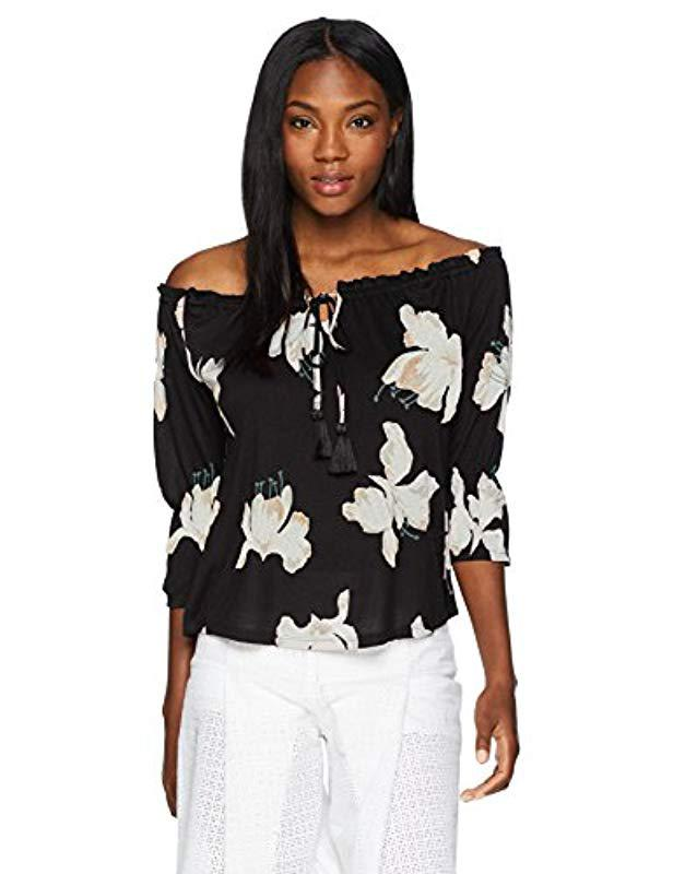 ef72e68588b Lyst - Lucky Brand Floral Print Off-shoulder Top in Black - Save 10%