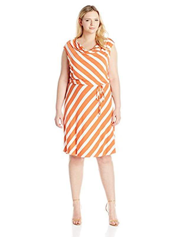 7fe55afe1ae Lyst - Calvin Klein Plus Size Striped Short Dress in Orange - Save 6%