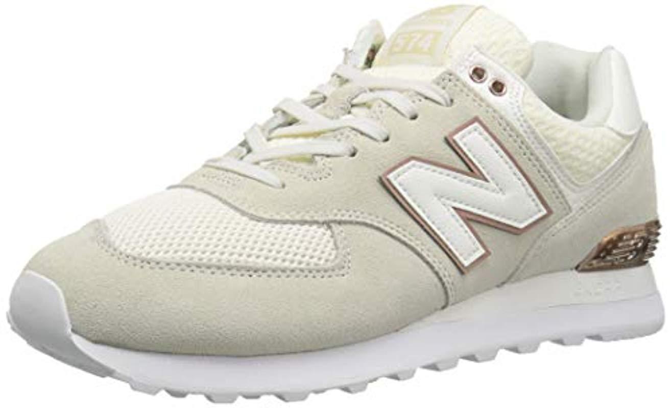 New Balance Rubber 574v2 Sneaker, Sea Salt/rose Gold/metallic, 7 D ...