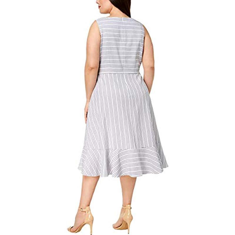 Plus Size Sleeveless Textured V-neck Faux Wrap Dress
