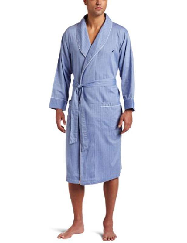d0003e34c5 Lyst - Nautica Long Sleeve Lightweight Cotton Woven Robe in Blue for ...
