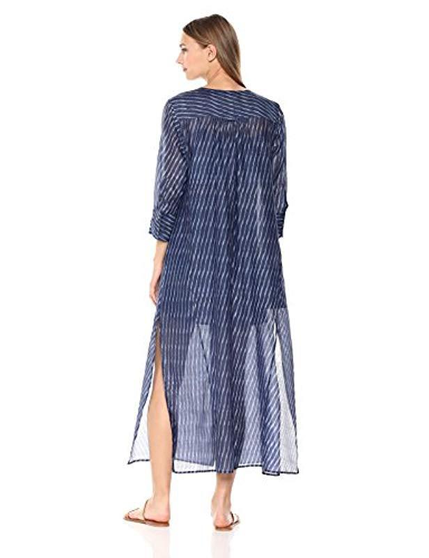 0d16ac7321e7 Theory 3/4 Sleeve Weekend Buttondown Maxi Dress in Blue - Lyst
