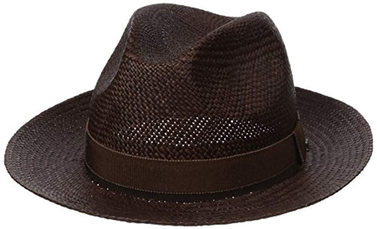 5c629dd64a16e Lyst - Hickey Freeman Straw Fedora Hat in Brown for Men