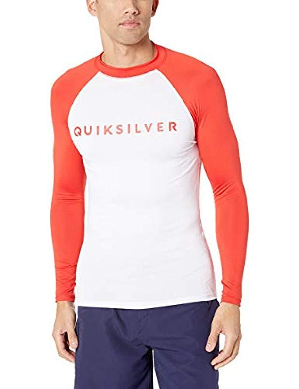 Quiksilver Mens Always There LS UPF 50 Rashguard High Risk Red