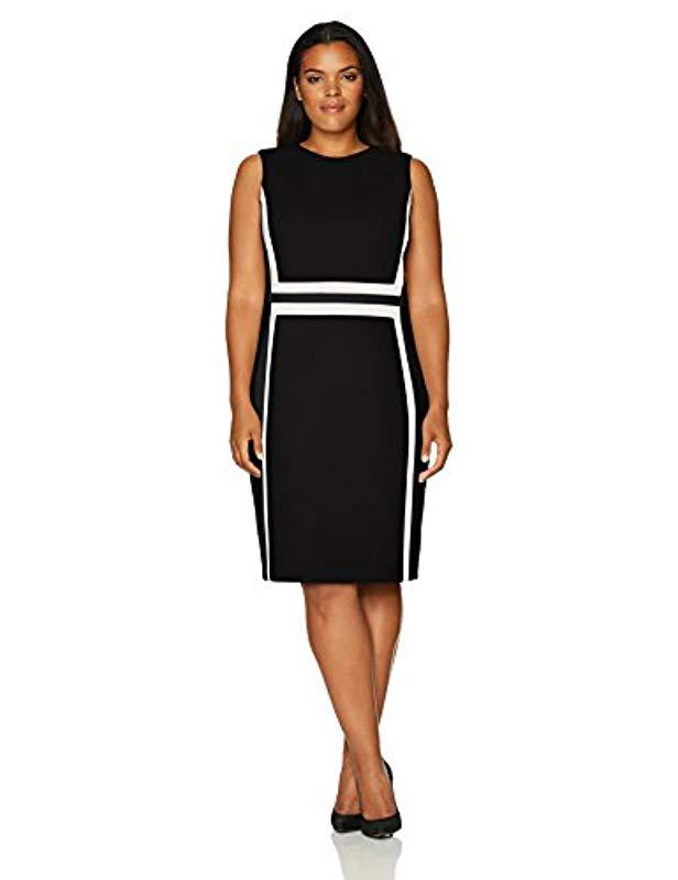 f6427c39f5e Calvin Klein. Women s Black Plus Size Sleeveless Color Block Sheath Dress