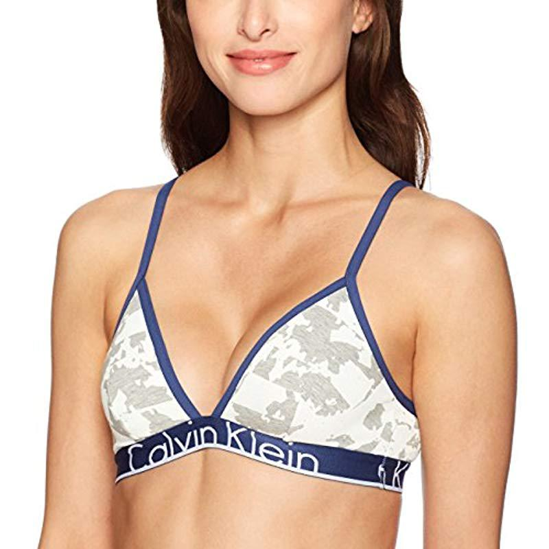 dd390ea5b2 Lyst - Calvin Klein Id Cotton Large Waistband Triangle Unlined Bra ...