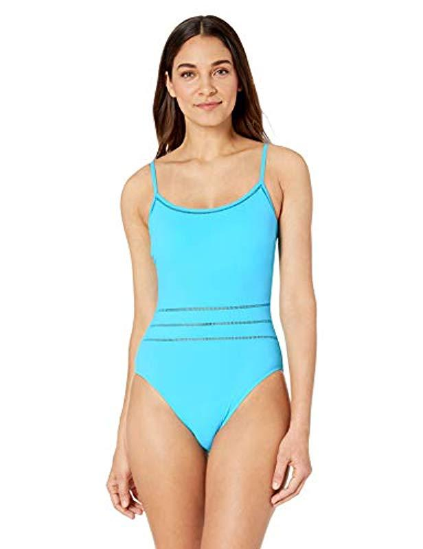 714f655f6943 Lyst - Gottex Thin Strap Scoop Neck One Piece Swimsuit in Blue