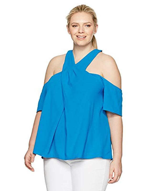 84ebb9c789d9fb Lyst - RACHEL Rachel Roy Plus Size Halter Cold Shoulder Top in Blue